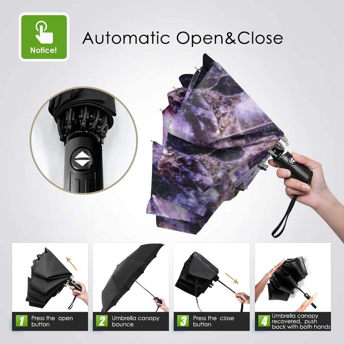 Amethyst Granite Automatic Tri-fold Umbrella Folding Rain Umbrell Sunshade