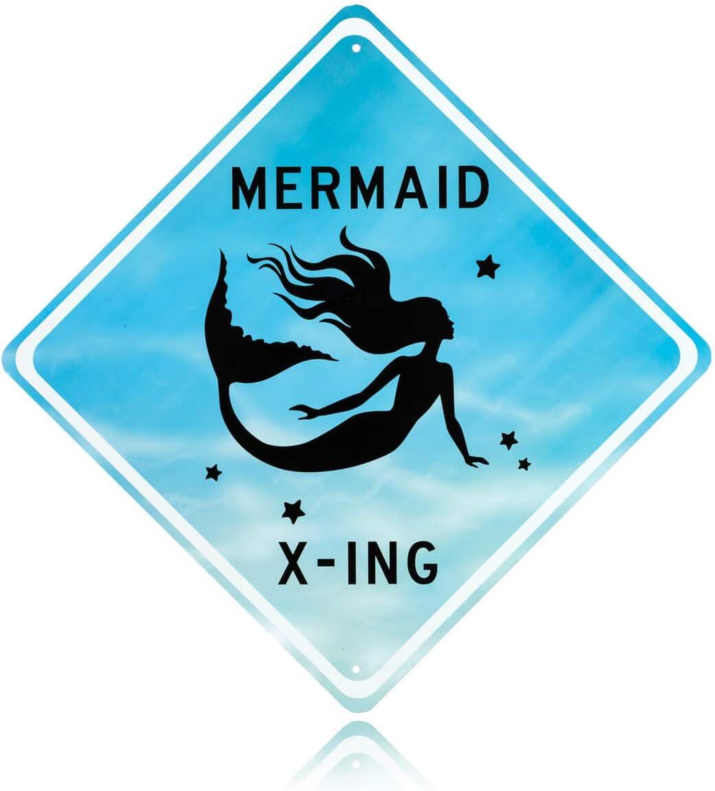Mermaid room decor - Decorative Aluminum Blue Mermaid Crossing Street Sign. Beautiful Bedroom art for little girls room. Put the poster away & splash her room with tin wall art mermaids x-ing signs!
