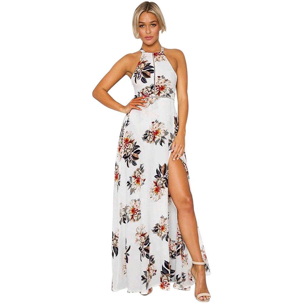 KUDICO Damen Langes Kleid Boho Neckholder Sommerkleid Blumenmuster Maxikleid Ärmellos Abend Party Strandkleid mit Schlitz