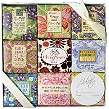 French Milled Botanical Soap Sampler Set in Nine Fabulous Scents, Individually Wrapped Vegetable Based Mini Soaps with Essential Oils, Shea Butter and Natural Extracts (Floral Favorites)
