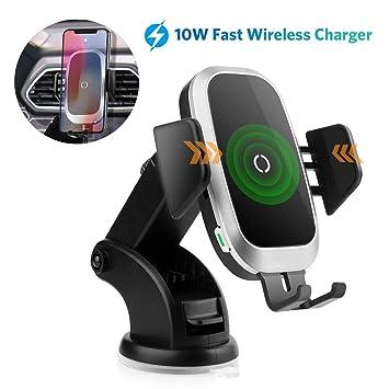 Qi Cargador Inalámbrico Coche Carga Rápida, Cargadores de Móvil Inalámbricos para Coche, Wireless Car Charger Soporte Móvil 10W para Samsung S9 ...