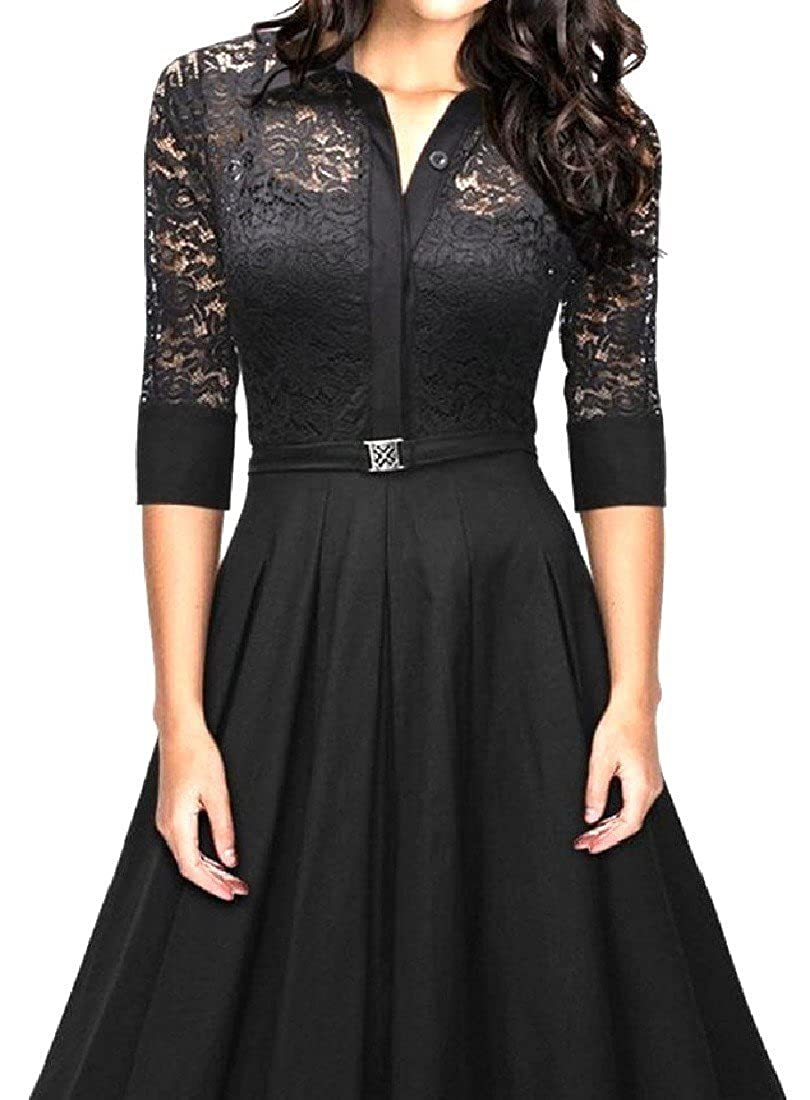 Comaba Womens Lace Patchwork Half Sleeve Solid Party Swing Dress