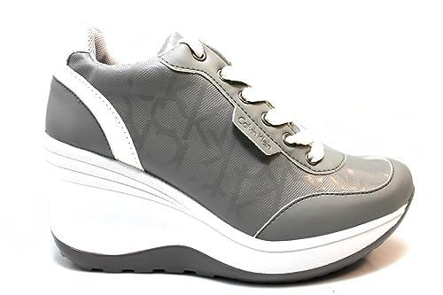 Calvin Klein Jeans RE9386 Grigio Sneakers Scarpe Donna Casual Sportive  Zeppa (37 bb665615179