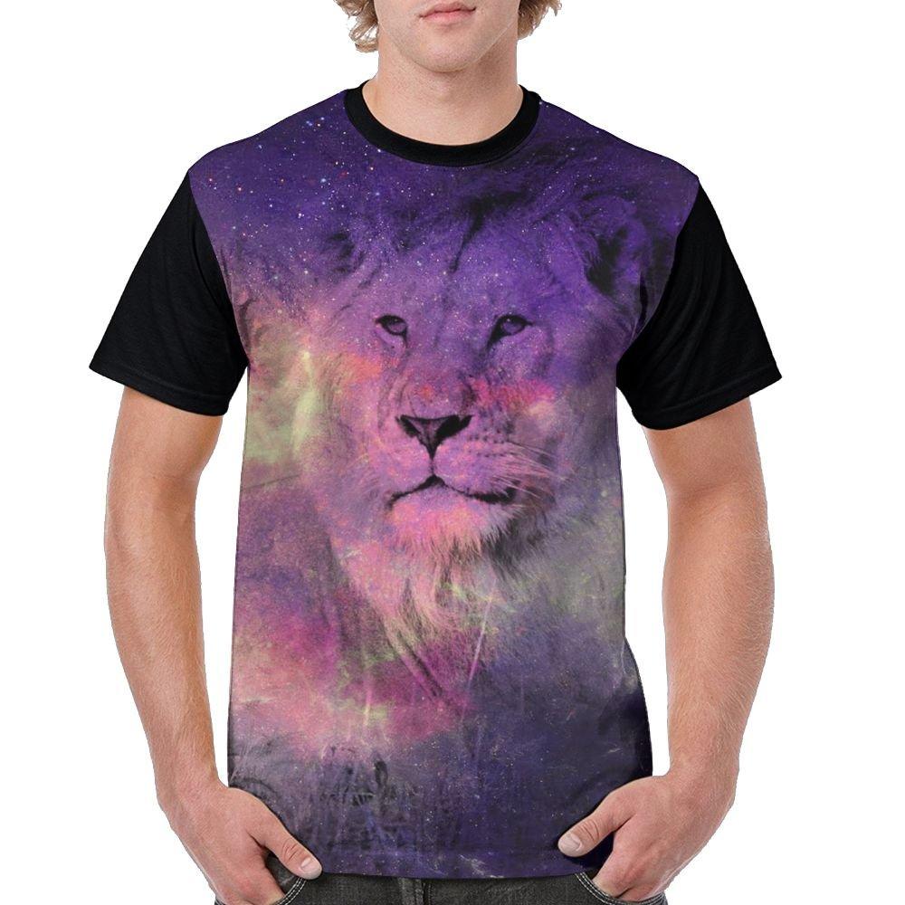 Galaxy Effect Lion Men's Raglan Short Sleeve Tops T-Shirt Classic Undershirts Baseball Tees by CKS DA WUQ