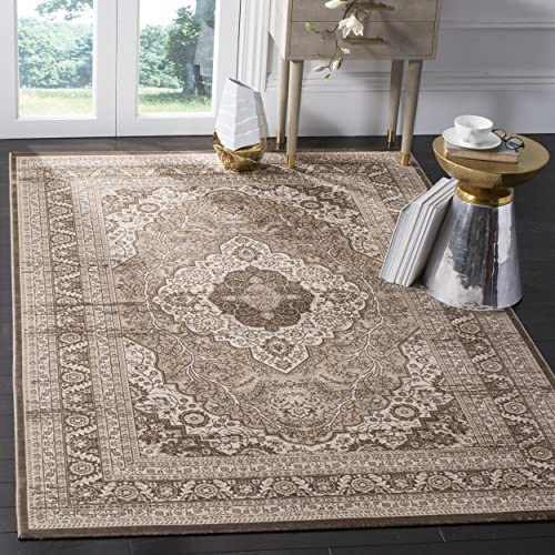 Safavieh Vintage Premium Collection VTG264A Transitional Oriental Medallion Beige and Light Brown Distressed Silky Viscose Area Rug 5 1 x 7 6