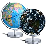 AuAg Geographic Globes Night Lights, 8'' Illuminated World Globe For Kids- 2 in 1 Globe with Plug, World Globe Constellations Globe Built-in LED Bulb Educational Gift Night Stand Decor (8 inch)