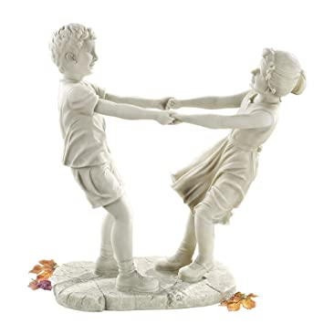 Superb Design Toscano Little Girl And Boy Dancing Garden Statue, Large, Antique  Stone