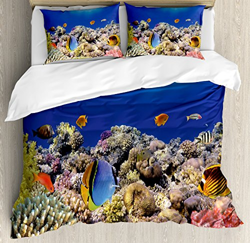 Ocean Duvet Cover Set Queen Size by Ambesonne, Wild Sea Life Colorful Ancient Coral Reefs Exotic Fishes Bali Indonesia, Decorative 3 Piece Bedding Set with 2 Pillow Shams, Tan Blue and Orange by Ambesonne