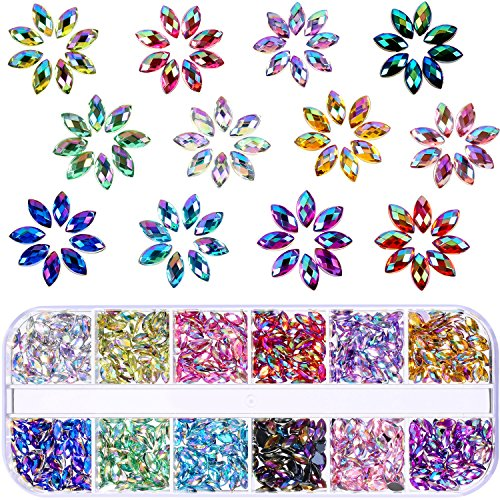 TecUnite 1200 Pieces 12 Colors Shiny Nail Art Rhinestones Flat Back Nail Gems Decorations Supplies with Box (Horse Eye Rhinestones)