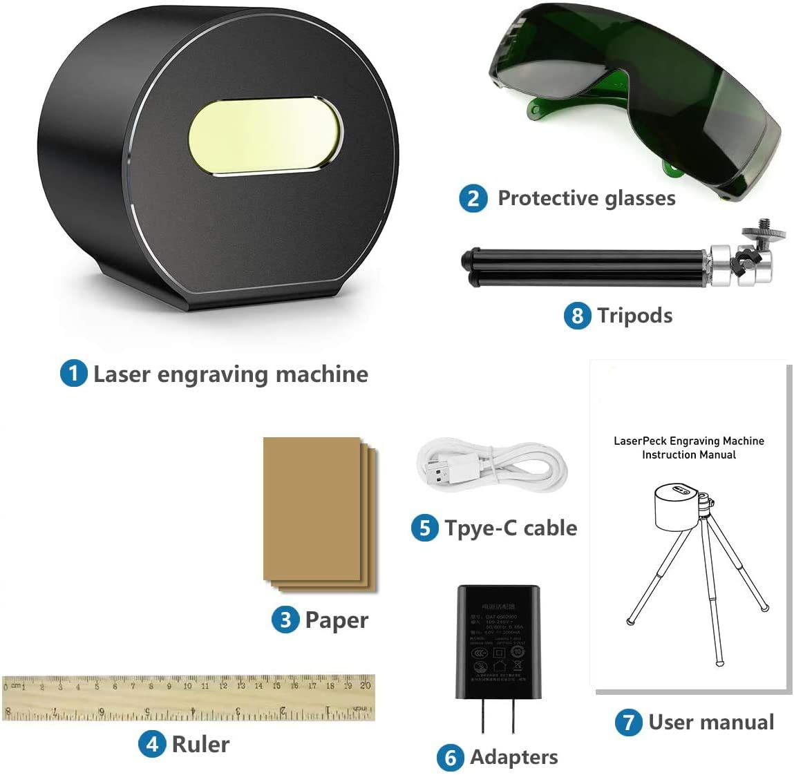 arte artesanal m/áquina grabadora l/áser compacta 1.6W con gafas protectoras Mini Herramientas de grabado l/áser CNC port/átil impresora l/áser l/áser grabador l/áser cortador para bricolaje Black