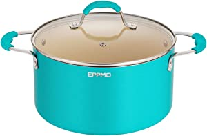 EPPMO 5.9 Qt Blue Ceramic Nonstick Stockpot with lid, Aluminum Pot with Cover,Casserole,Compatible for Induction, Gas, Electric & Stovetops