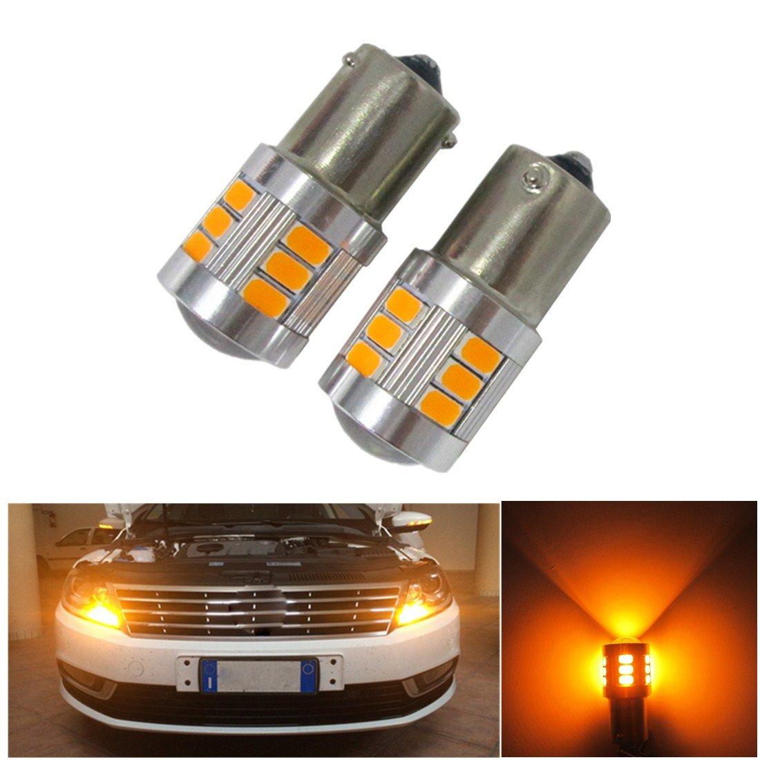 FEZZ Auto LED Ampoules Clignotants BAU15S 1156 150° 5630 18SMD avec Projecteur, 18W Ambre Jaune, Paquet de 2 FZ0251-01