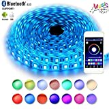 #2: RaThun Bluetooth Led Strip Lights 5M 16.4 Ft 5050 RGB 300 Leds Waterproof Flexible Color Changing Full Kit with Bluetooth Smartphone App Controller,12V 5A Power Supply for Home lighting Decorative