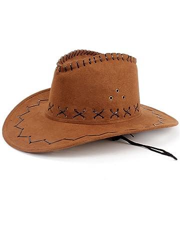 655c0e23ad3 HMILYDYK Cowboy Hat Fancy Dress Accessory Wide Brim Western Cowgirl Hats  Wild West