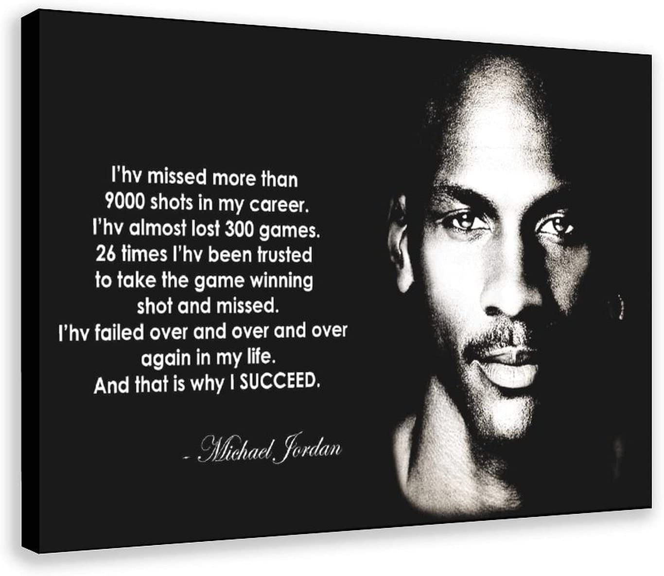 Michael Jordan Poster MJ Poster Poster of Classic Michael Jordan Quotes Classic Michael Jordan Poster Canvas Poster Bedroom Decor Sports Landscape Office Room Decor Gift 20×30inch(50×75cm) Frame-style
