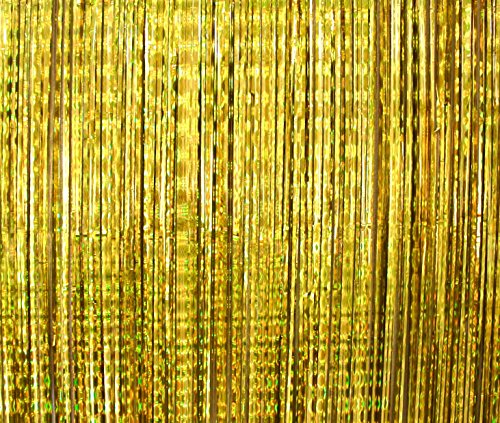 2 Pack - Foil Fringe Curtain Photo Booth Backdrop Party Decoration - 3FT x 8FT (Gold Metallic Sparkle) Fun for Bachelorette, Wedding, Birthday or Academy Award Oscar Parties - Easy -