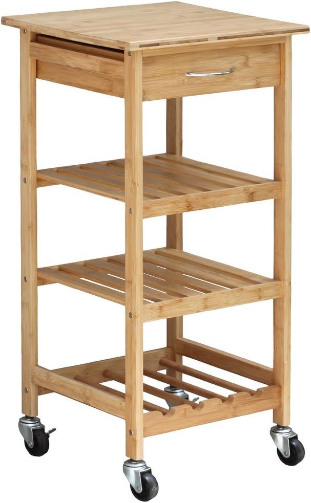 Oceanstar Design Group Bamboo Kitchen Trolley - Kitchen Islands & Carts