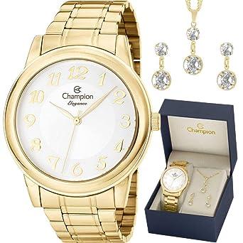 98dc749195a Relógio Champion Elegance Analógico Feminino CN26804W + Folheado 18K ...