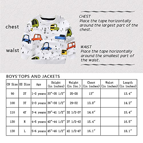 NWAD Boys Car Sweatshirts Light Weight Little Boy Clothes Organic Cotton Crewneck Clothing Long Sleeve Tops (Car Grey, M(5)) by NWAD (Image #7)