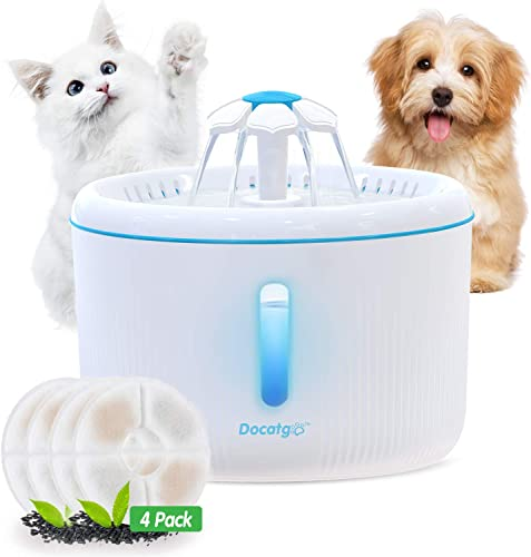 Docatgo 2L Pet Water Fountain with Water Level Window Cat Water Fountain with 4 Carbon Filter White Automatic Ultra Silent Healthy and Hygienic Cat Water Flower Style Fountain