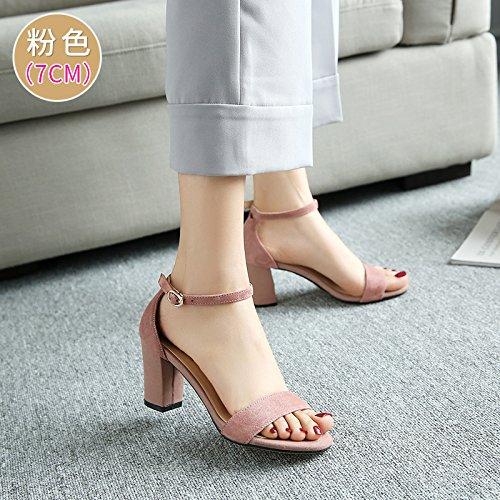 Rome Heel Dew SHOESHAOGE Épais EU39 Shoes High Chaussures Minimalistes Oblongs Avec Fixations Toe Sandales Femme rOz1qOAnwY