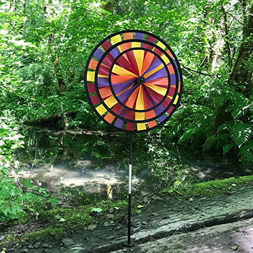 In the Breeze Autumn Triple Wheel Spinner- Ground Stake Included - Fall Themed Decor for your Yard and Garden