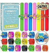 POKONBOY Dinosaur Slap Bracelets Dinosaur Party Favors - 24 Pack Silicone Slap Soft Dinosaur Brac...