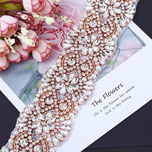Wide Rhinestone Belt Crystal Trim,FANGZHIDI 1 Yard Wedding Applique Decorative with Pearls Diamante for Waist Belt Rhinestone Patch Bridal Belts and Sash Ribbon Gown Sparkle Beaded Addition(GRA-141)