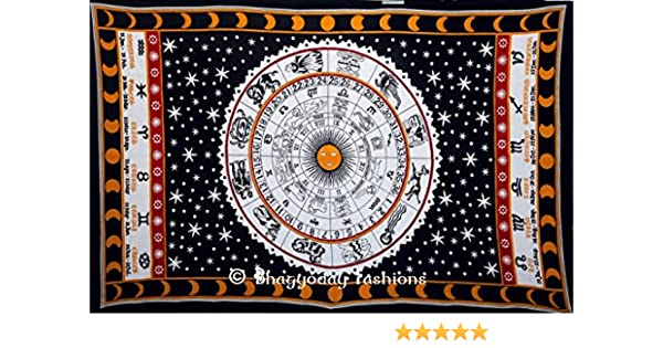 Horoscope Astrology Mandala Tapestry Indian Queen Wall Hanging Green Bedcover
