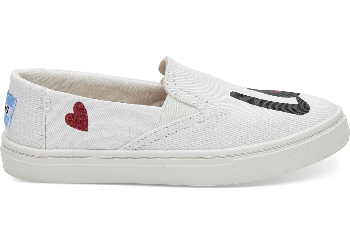 TOMS Youth Luca Slip Ons White Denim Love 10011482 Youth Size 5.5