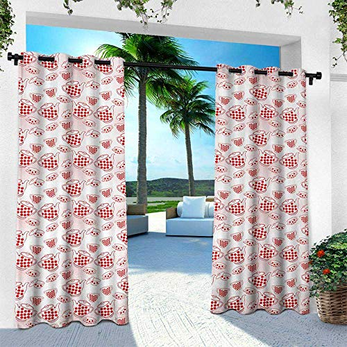Hengshu Tea Party, Balcony Curtains,Polka Dots Jug Cup and Pot Traditional Retro Style Kitchenware of Great Britain, W96 x L84 Inch, Red White ()