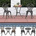 Sunnydaze 3-Piece Outdoor Garden Patio Furniture Cast Aluminum Bistro Set