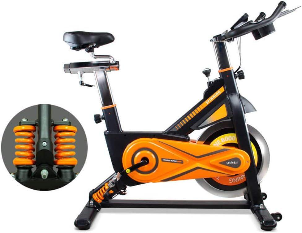 gridinlux. Trainer Alpine 8500. Bicicleta Spinning Pro Indoor. Volante de Inercia 25 kg, Nivel Avanzado, Sistema de Absorción de Impactos, Pantalla LCD, Fitness
