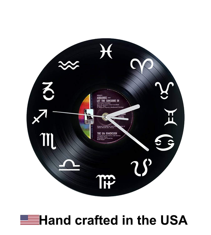 Vinyl Clock, Zodiac, Aquarius, Aries, Taurus, Gemini, Cancer, Leo, Virgo, Libra, Scorpio, Sagittarius, Capricorn, Pisces, 5th dimension, Christmas gift, Wall clock, vinyl record clock