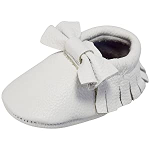Unique Baby Leather Bow Moccasins Anti-Slip Tassels Prewalker Toddler Shoes (L (5.9 inches), White)