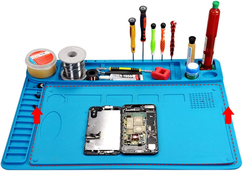 Meknic Silicone Repair Mat, Anti Static 18.9 x 16.17 Inches Electronics Heat Insulation Magnetic Repair Work Mat with Scale Ruler and Screw Position, Large Silicone Repair Mat (SRM02 Kit)