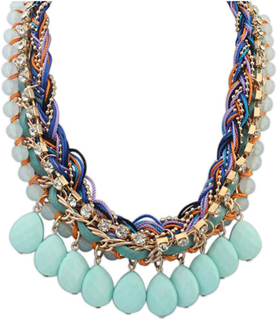 Gift for her Women/'s jewelry Necklace for women Chunky necklace Statement necklace Green rope necklace Textile jewellery