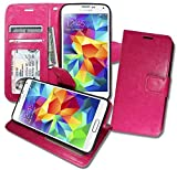S5 Wallet Case, Samsung GALAXY S 5 Soft Leather Flip Cover with [ Foldable Stand ] Pockets for ID, Credit Cards, Kickstand Features (Hot Pink)