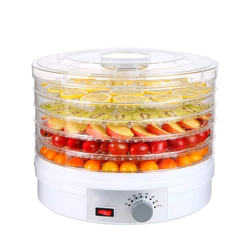 Electric Food Dehydrator Machine Temperature Control - 5 Drying Trays - For Beef Jerky Herbs Fruit BPA Free -245w - White