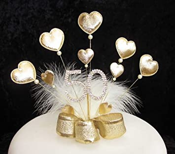 Gold Padded Heart and Diamante 50th Birthday Cake Topper Golden