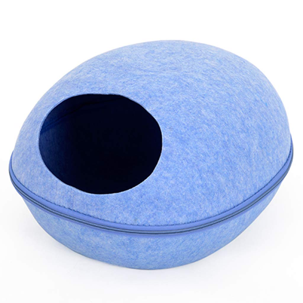 bluee Felt Cat Cave Bed, Creative Cat Sleeping House Egg Cave Bed for Cat, Detachable Design for Easy Cleaning,Suitable for Cats Within 5KG 11 Pounds,bluee