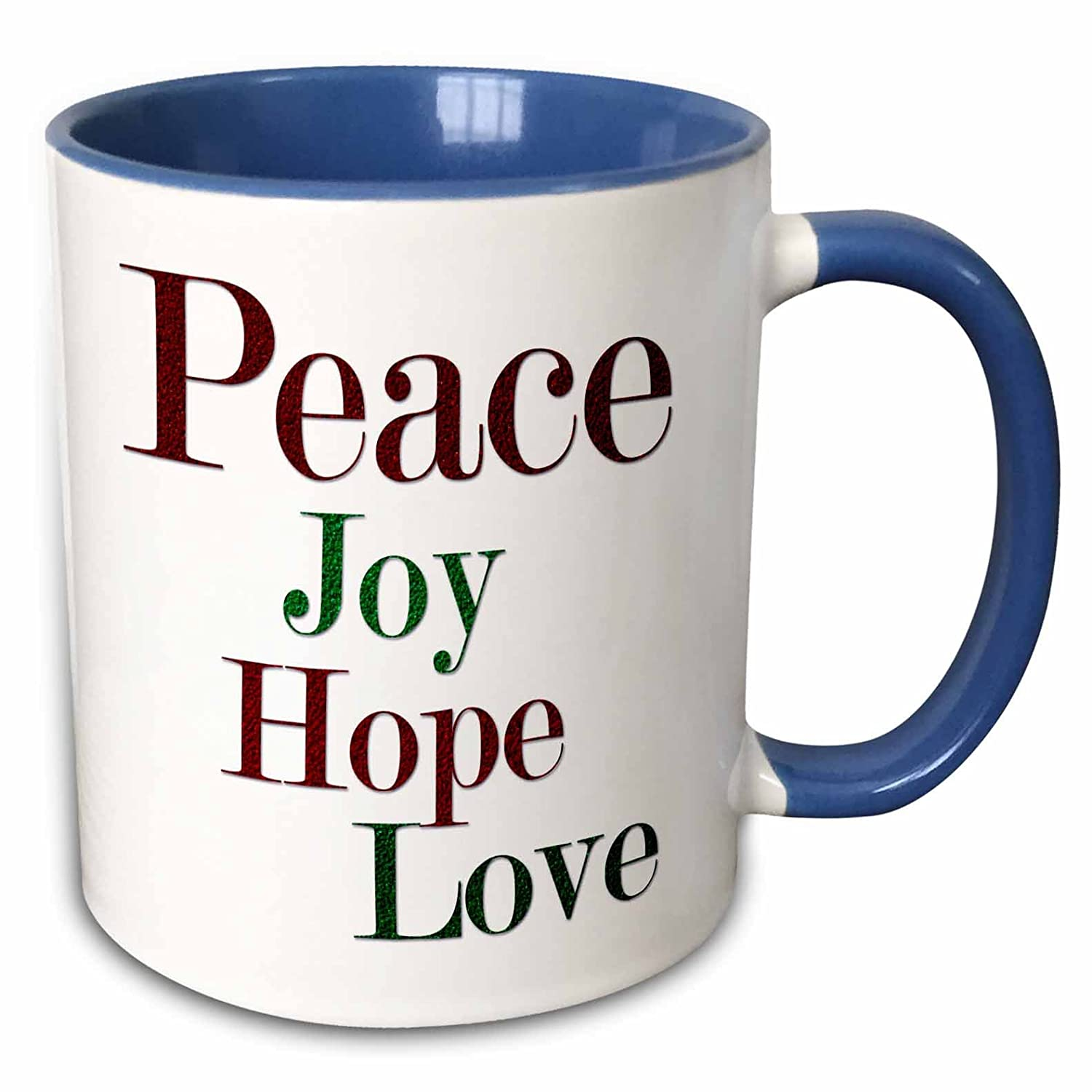 Buy 3drose Anne Marie Baugh Christmas Peace Joy Hope Love Words In Red And Green Glitter Effect 15oz Two Tone Blue Mug Mug 217194 11 Online At Low Prices In India Amazon In