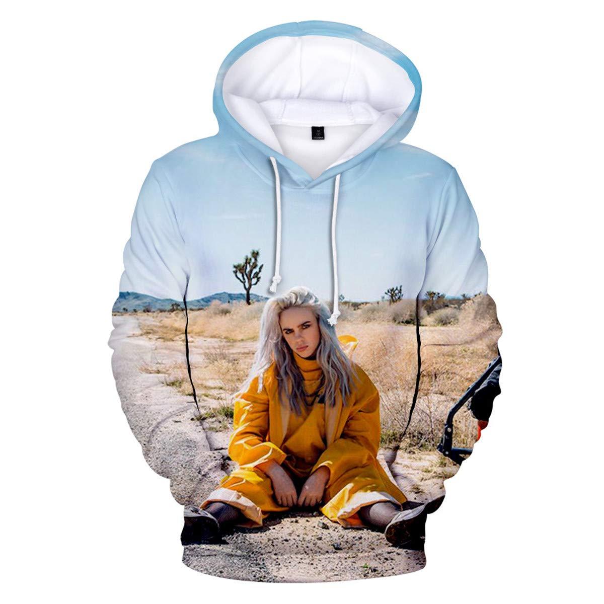 Unisex Billie Eilish Fans Felpa con Cappuccio Hip Pop Cool Pullover Instagram Felpa novit/à Streetwear per Uomo Donna Teen