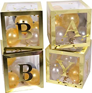 46 Piece Baby Shower Decorations Large Gold Baby Box Blocks Balloons for Boy Girl Kids 1st Birthday Party Gender Reveal Gift Favors Decor
