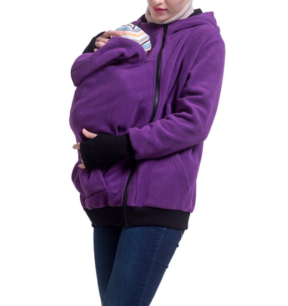 U2SKIIN Womens Maternity Fleece Hoodie 3 In 1 Kangaroo Pocket Carrier Baby Holder (Purple, L/XL(US 10/12))