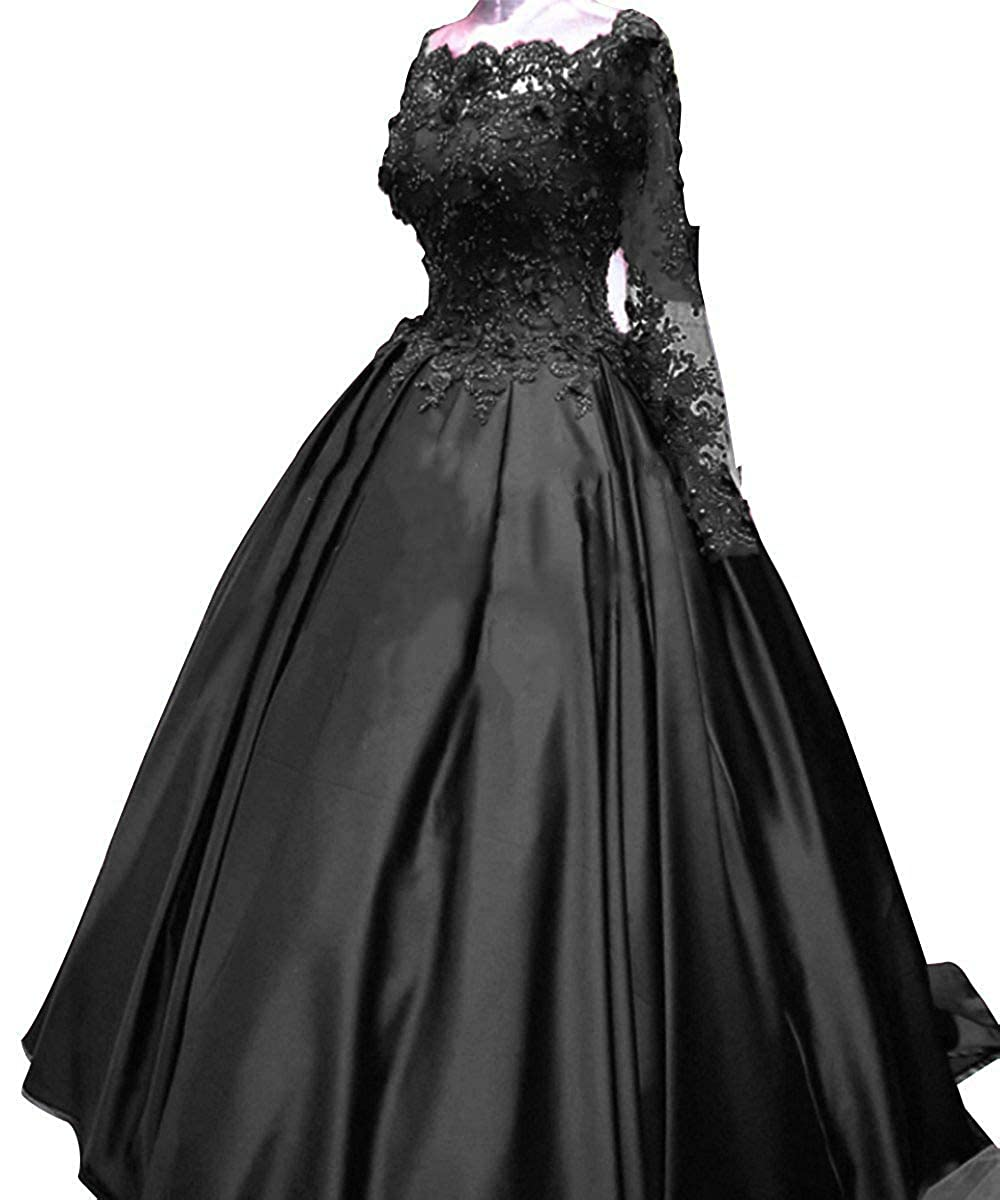 Black TBFY Long Sleeve Ball Gown Satin Evening Prom Dress 2019 Appliques Lace Off Shoulder Formal Gowns Wedding Plus Size