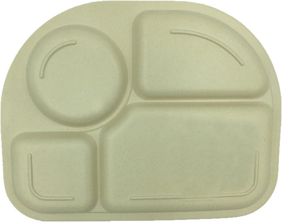 Set de Vajilla Infantil Seguro Degradables Materiales Sin BPA B/úho Elefante 2pcs Cuberteria Infantiles Bambu EULANT Platos Compartimento para Beb/é