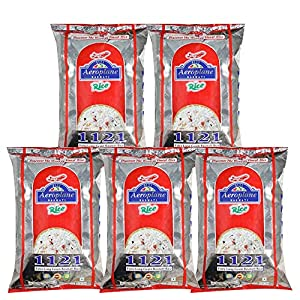Aeroplane 1121 Steam Long Grain Rice 1Kg Pack of 5