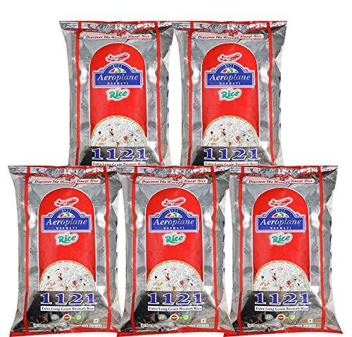 Aeroplane 1121 Steam Long Grain Rice 1Kg Pack of 5 2021 August Before Cooking Length - 8.35 mm, Width - 1.75 mm, Kett - (Whiteness of Rice) - 29-30 After Cooking Length - 25.05 mm, Width - 5.25 mm Extra Long Grain Biryani Rice, 2 Years Shelf Live.