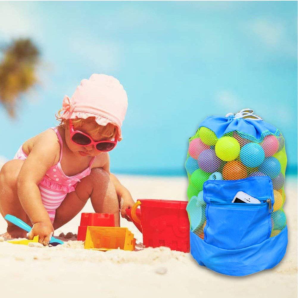INTVN 2pcs Bolsa Grande de Malla para Juguetes de Playa Mochila Duradera con Cord/ón Ajustable para Nadar y Jugar en la Piscina para Ni/ños Juguetes para Ni/ños Bolsas de Almacenamiento